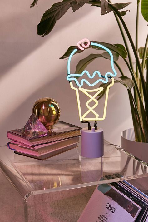 Neon Table Light: Sunnylife Ice Cream Neon Sign Table Lamp (With Images