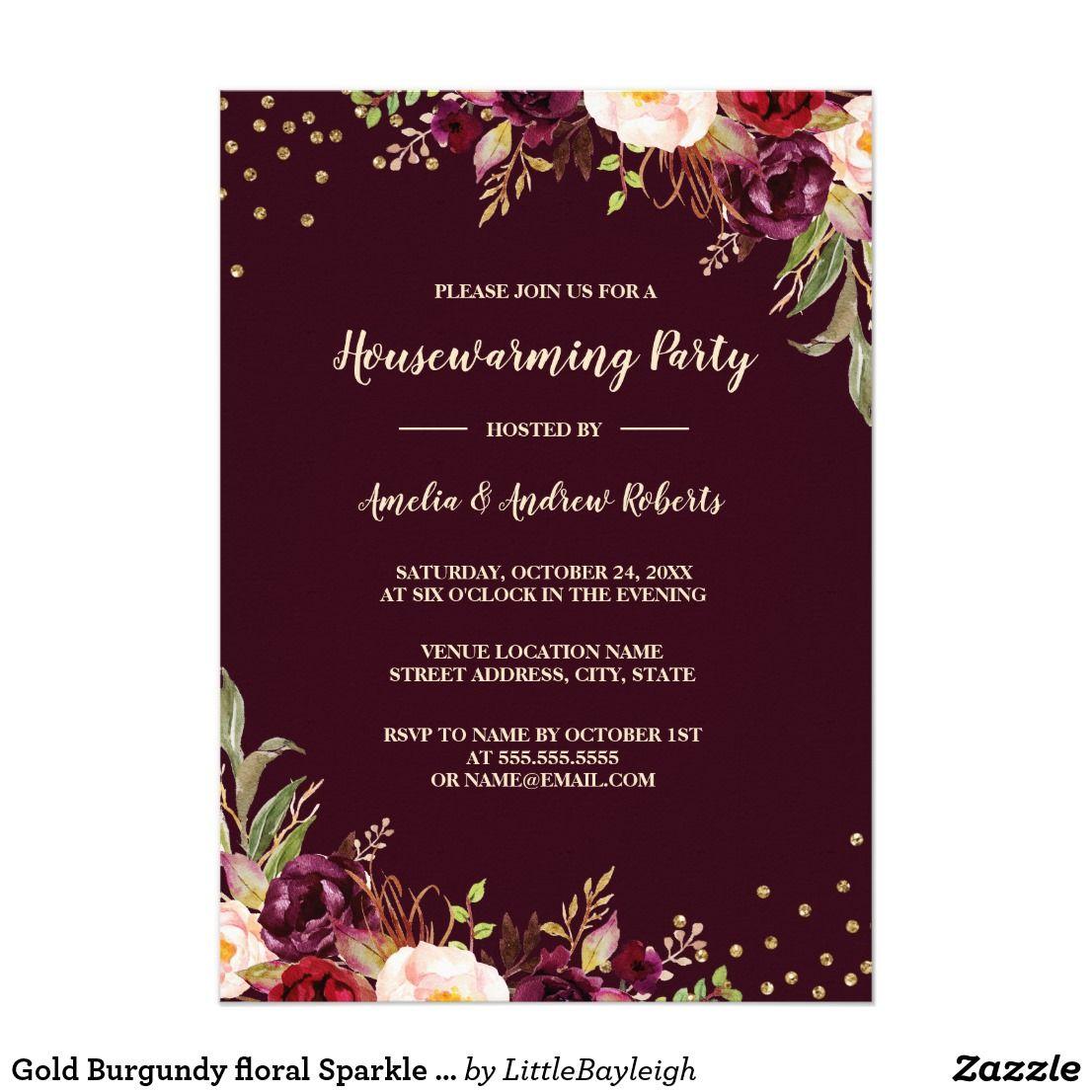 Gold Burgundy floral Sparkle Housewarming Party Card