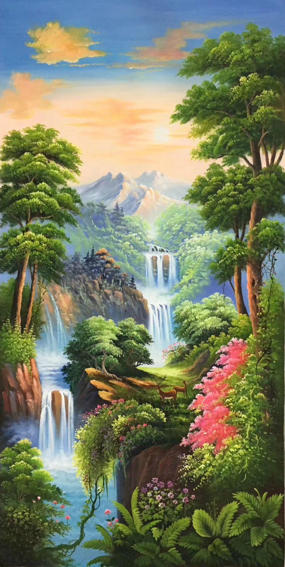 Id 817 Size 80x160cm 30 X72 Inch 100 Hand Made Oil Painting Decoration Murals Art Home Decor Wall De Nature Art Painting Scenery Paintings Nature Paintings