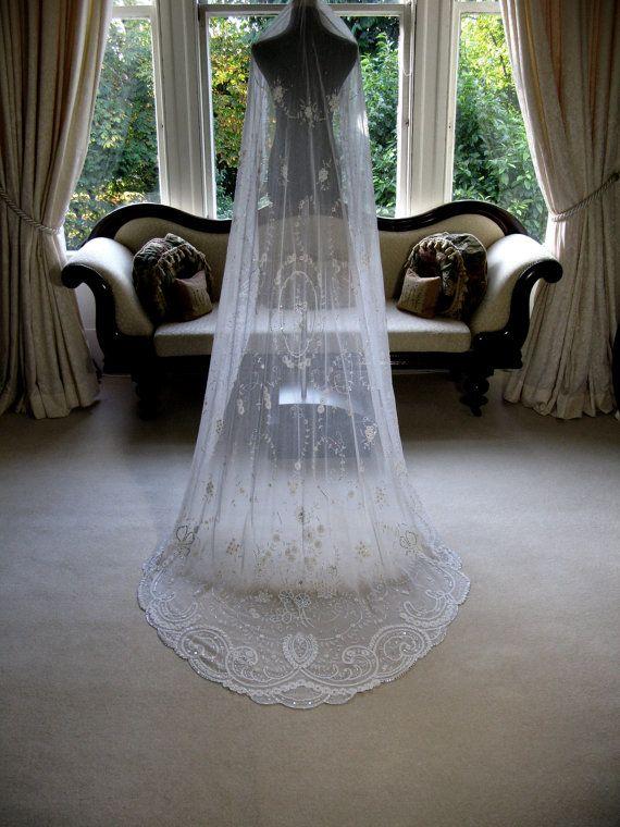 Sarah Morgan Heirloom Bridal Veil With Princess Crystal Detail