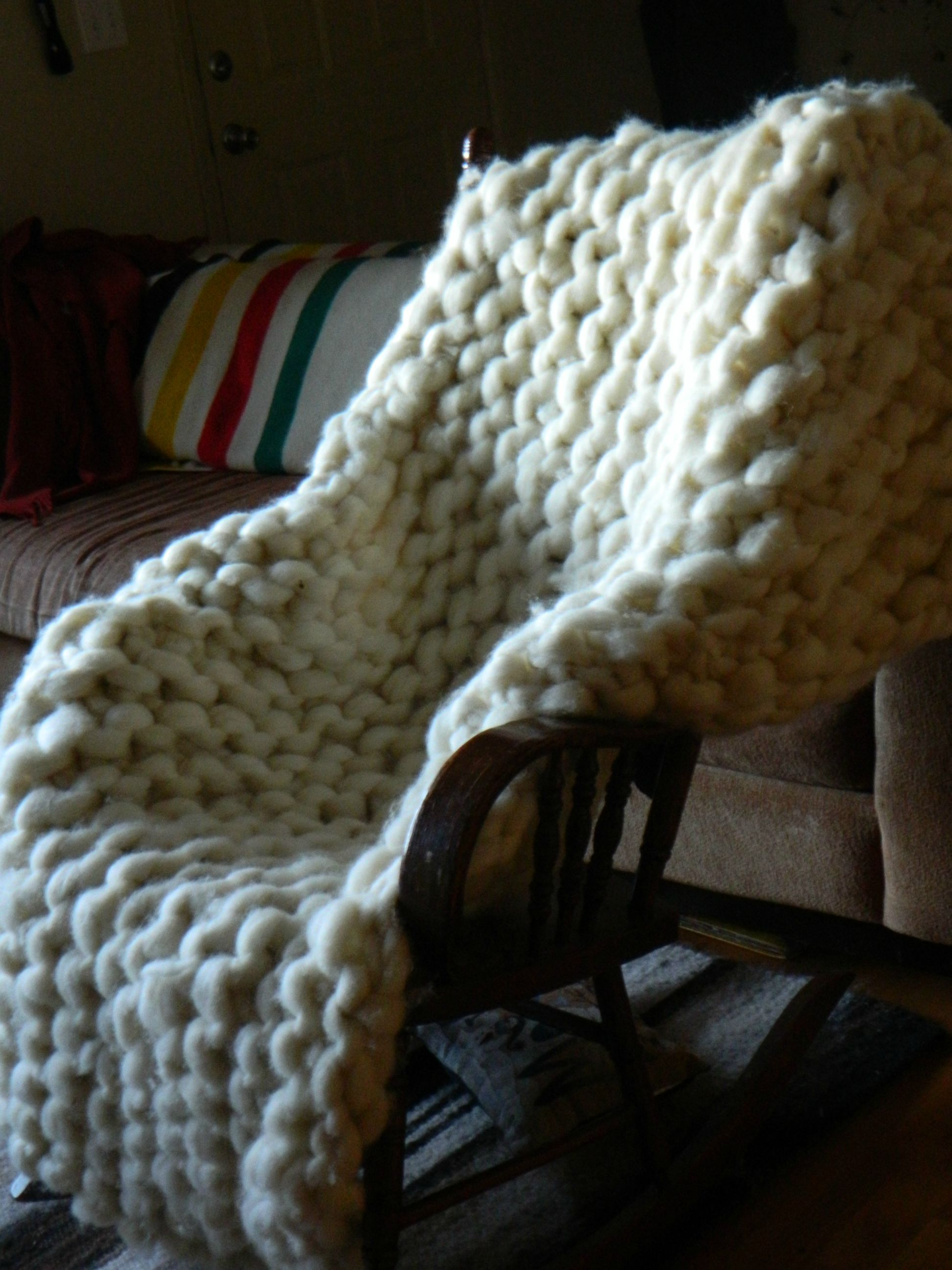 Afghans & Throw Blankets Knitted Thick Blanket Wool Chunky Yarn Bulky Knit Throw Sofa Blanket 16 Style Uk Finely Processed