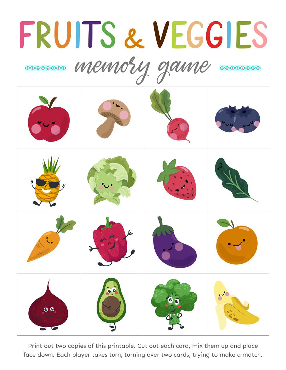 Free Printable Fruits And Veggies Memory Games Memory Games Healthy Food Activities For Preschool Printables Free Kids [ 1268 x 980 Pixel ]