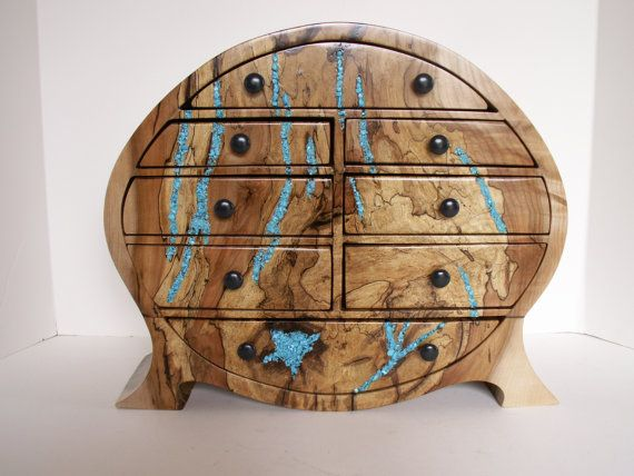 Spalted Maple Jewelry Box With Turquoise Inlay By