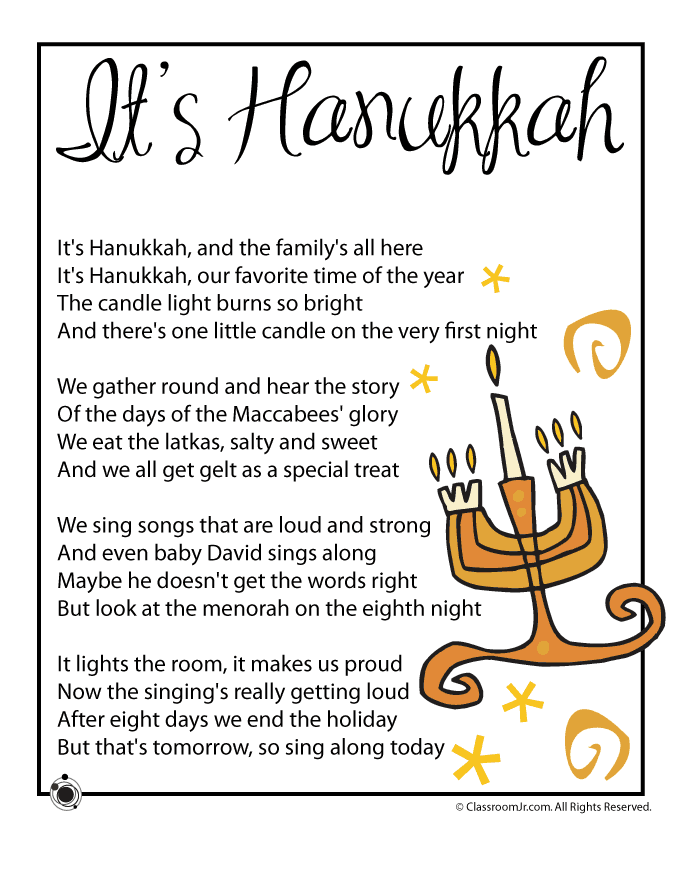 It\'s Hanukkah - Kids Poem   Christmas   Pinterest   Hanukkah ...