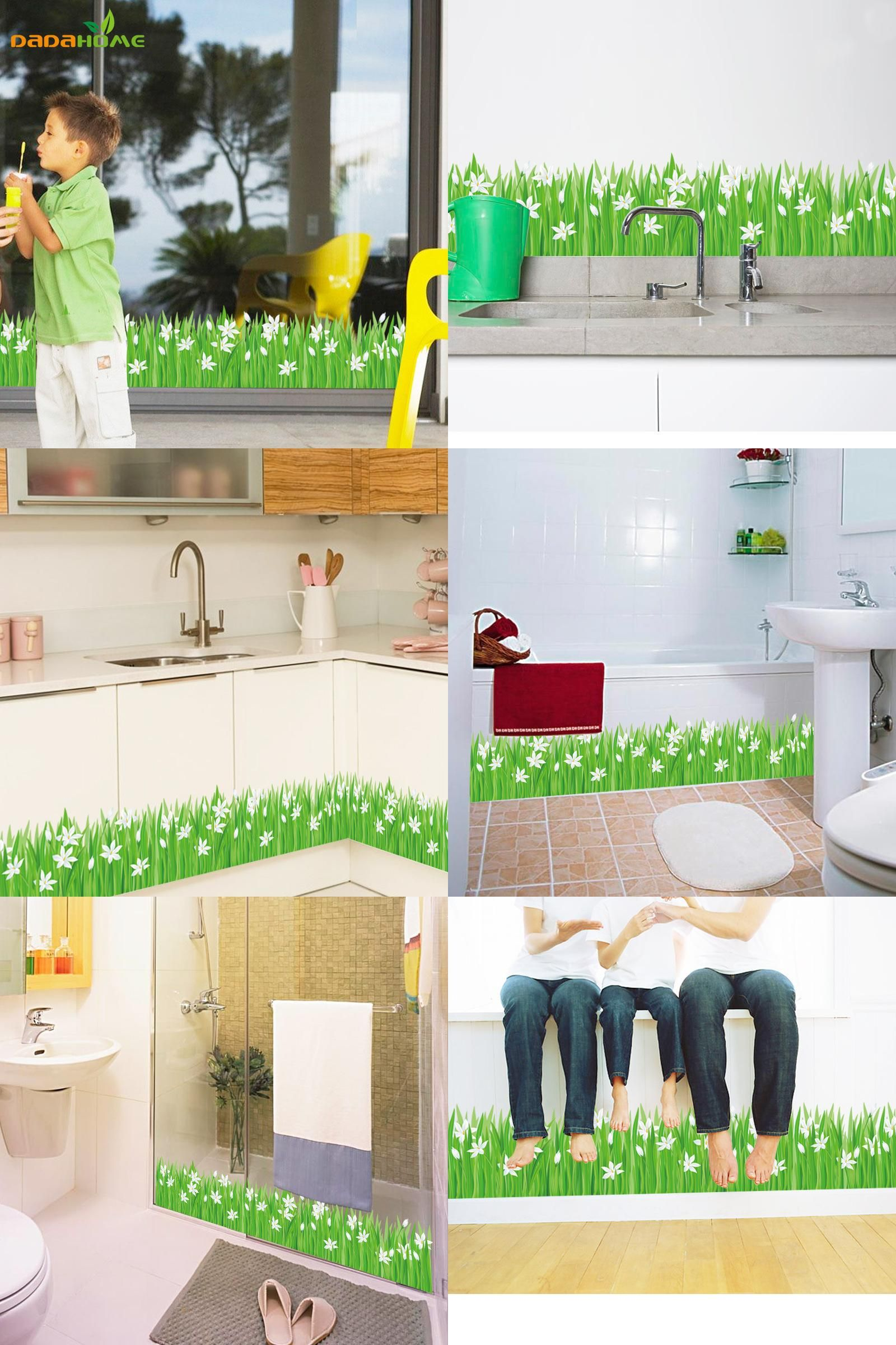 [Visit To Buy] Sayuri Grass Skirting Diy Wall Sticker Glass