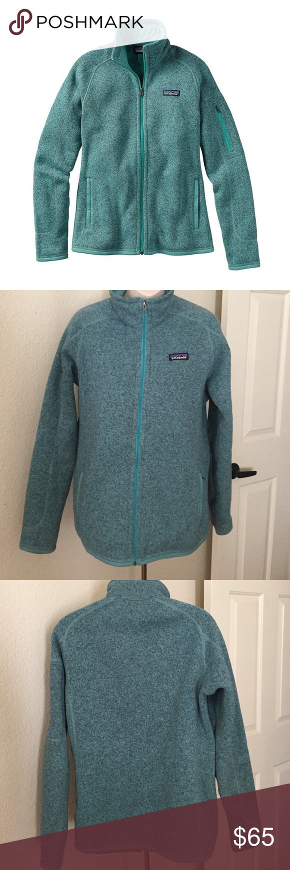 """Patagonia Better Sweater Ultramarine Fleece Zip Up This is a Patagonia better sweater Zip Up hoodie. Size medium. Color is ultramarine. Made of warm, midweight polyester fleece. Front zipper has a wind flap and kissing-welt closure Raglan sleeves, princess seams on back, and forward seams on front for contoured shape and fit Zippered handwarmer pockets; interior drop-in pockets Polyester jersey fabric trim on wind flap, pockets, cuffs and hem. Bust 42"""" length 27"""". Great condition. Patagonia…"""