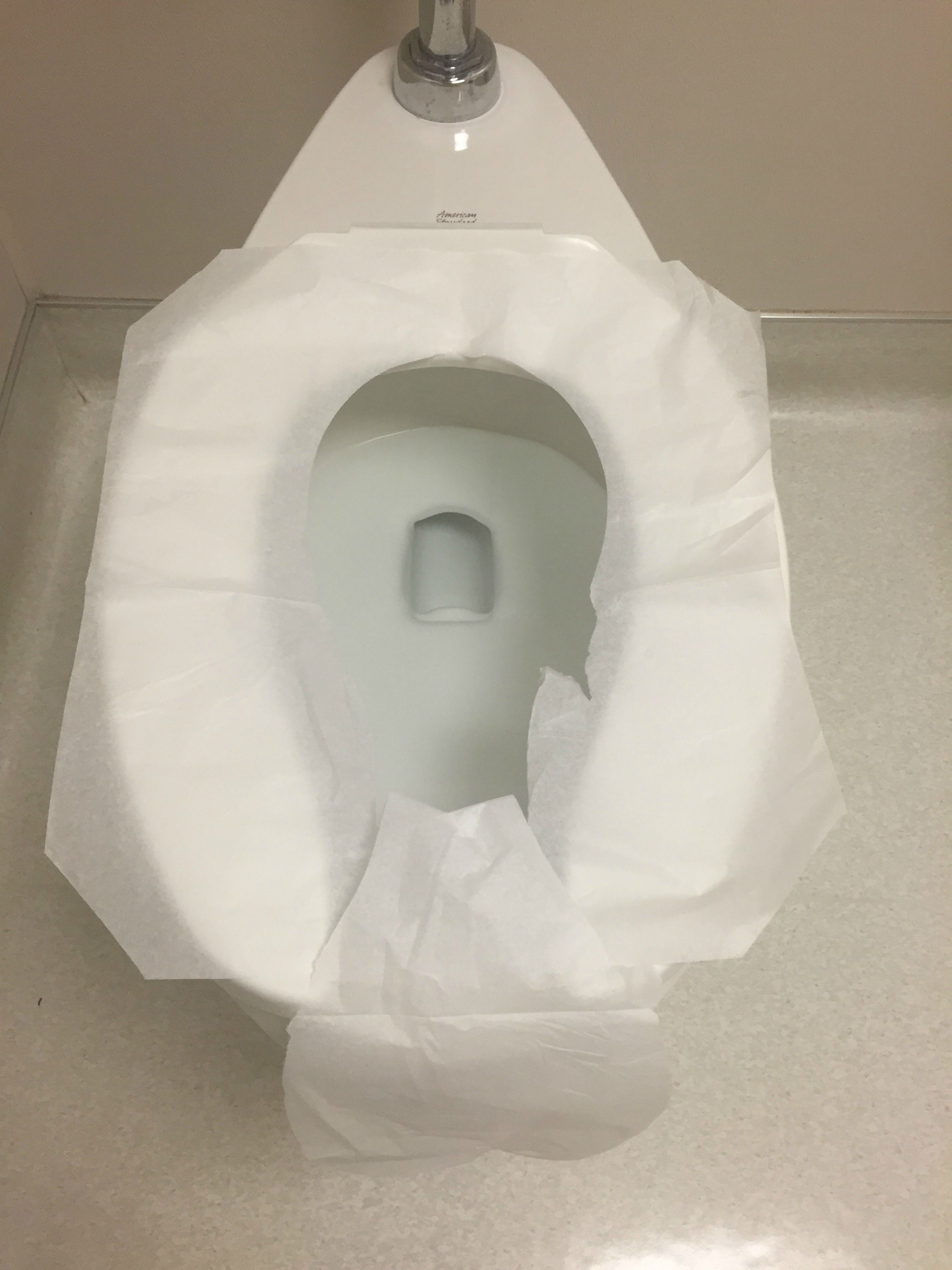 proper way to put on a toilet seat cover   who knew!?!? | Toilet