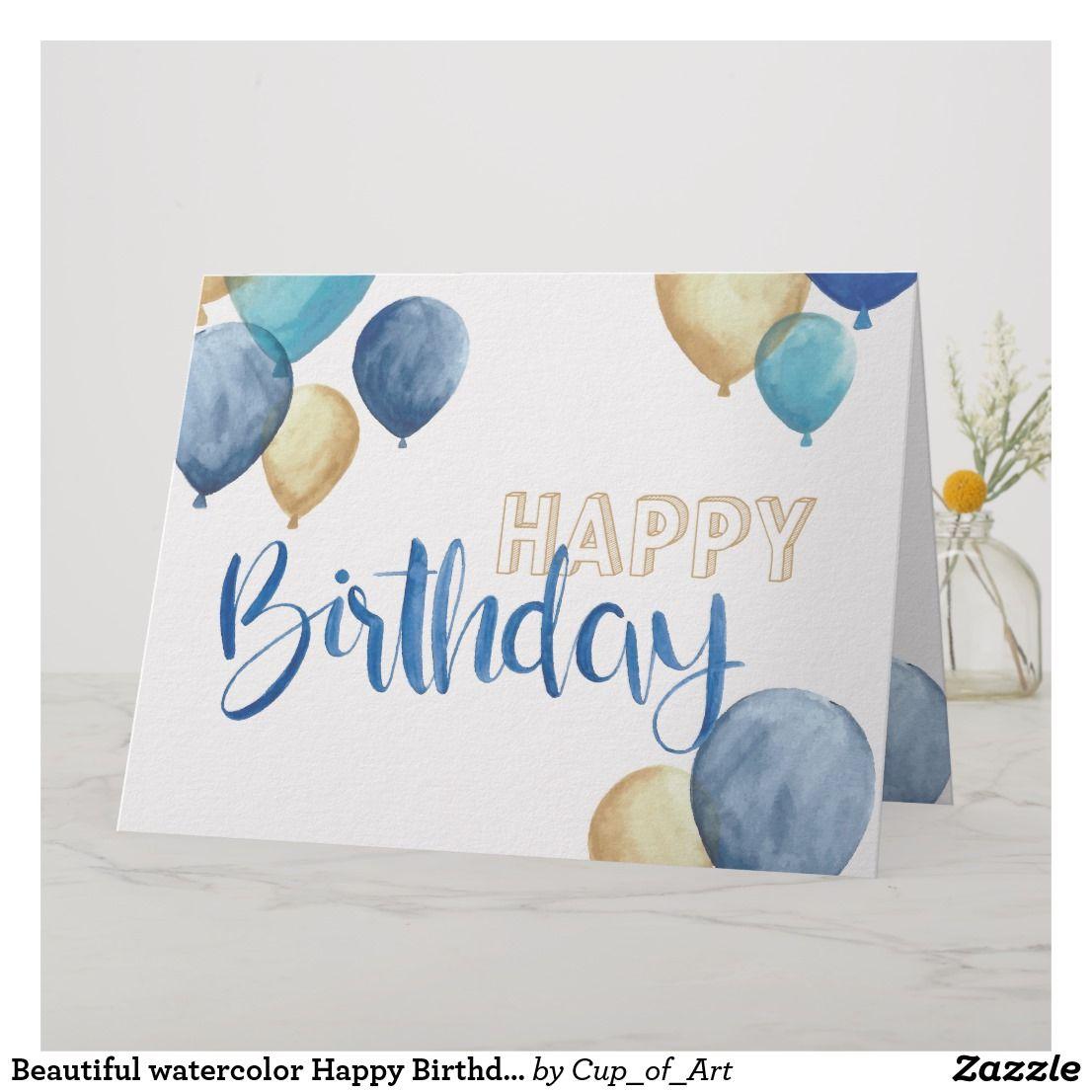 Beautiful watercolor Happy Birthday design Card  Zazzle.com