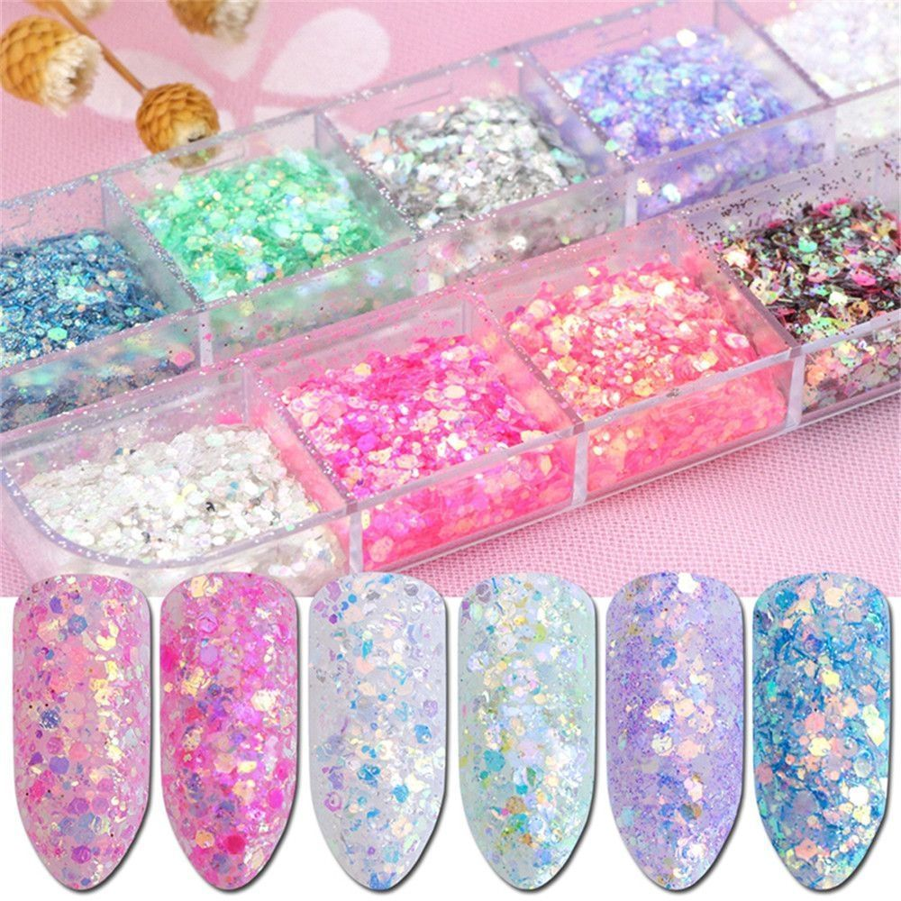 12 Grids/Sets Cosmetic Festival Chunky Glitters Sequins, Nail Sequins Iridescent Flakes, Cosmetic Paillette Ultra-thin Tips, for Body Face Hair Make Up Nail Art Mixed Color Glitter -  12 Grids/Sets Cosmetic Festival Chunky Glitters Sequins, Nail Sequins Iridescent Flakes, Cosmetic P - #Art #Body #bodyglitter #Chunky #Color #Cosmetic #Face #Festival #Flakes #fullbodyart #Glitter #glitters #GridsSets #hair #Iridescent #mixed #Nail #Paillette #piercingsbody #Sequins #sketchbody #tips #Ultrathin #w