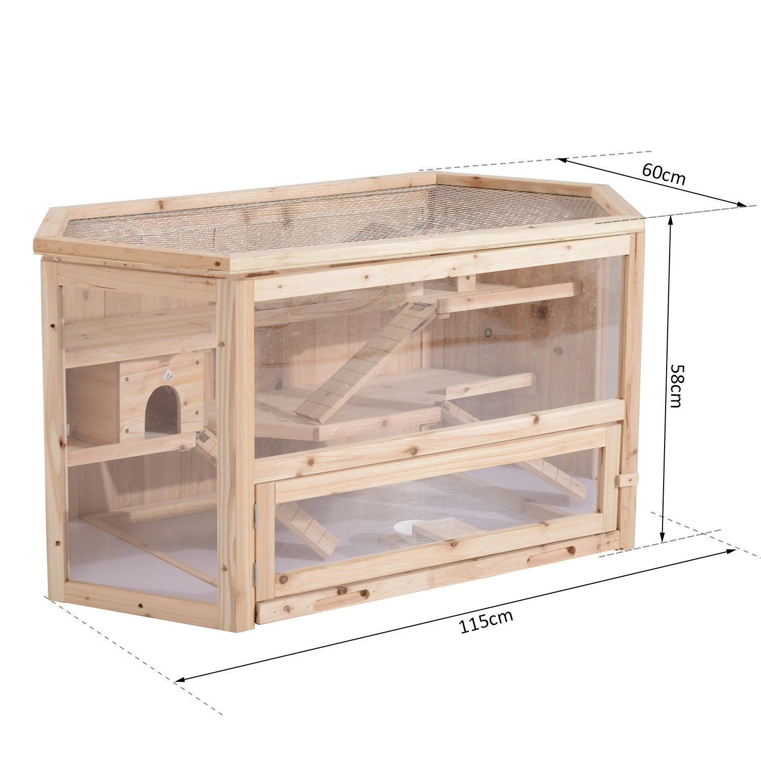 Pawhut Large Wooden Hamster Cage Rodent Mouse Pet Small Animal Kit Hut Box Double Layers Easy Clean Amazon Co Uk Small Pets Syrian Hamster Cages Hamster Cage