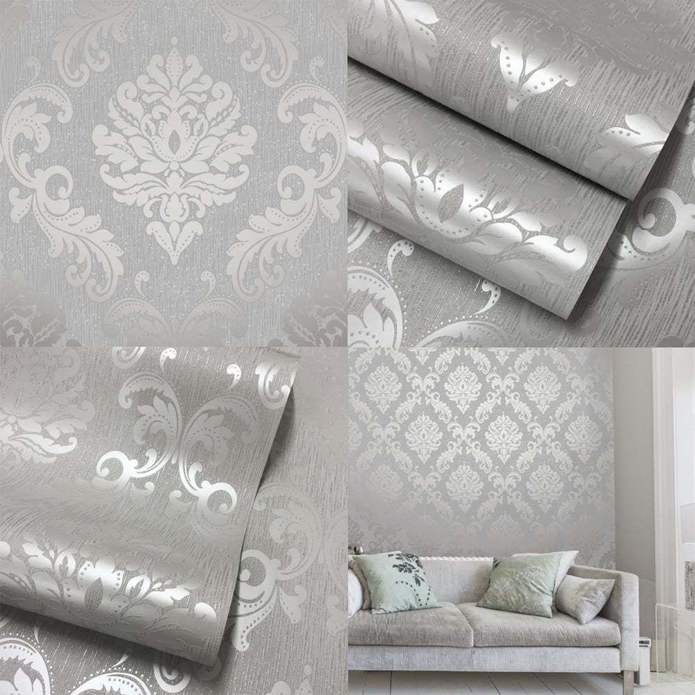 Henderson Interiors Chelsea Glitter Damask Wallpaper Soft Grey