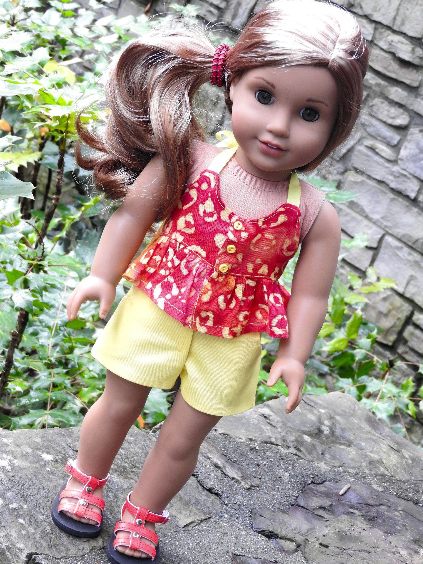 18 Inch Doll Clothes, AG Doll Clothes, 18 Inch Doll Shorts & Halter ...
