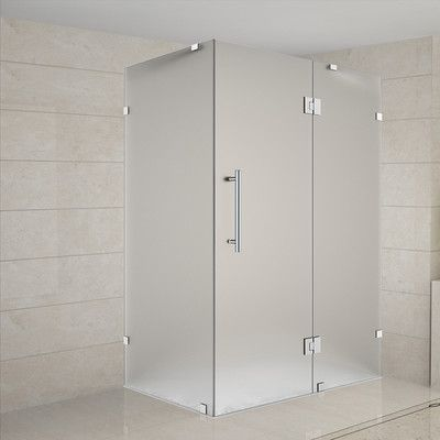 """Aston Avalux 36"""" x 32"""" x 72"""" Completely Frameless Hinged Shower Enclosure, Frosted Glass Finish: Brushed Stainless Steel"""
