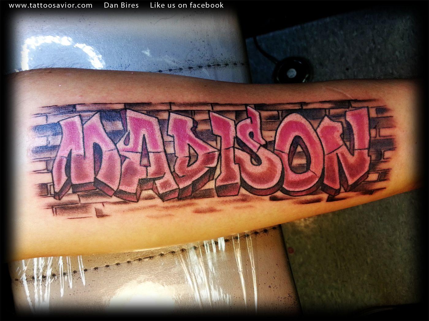 Graffiti Name And Brick Wall Tattoo By Dan Bires Jpg 1400 1050 Graffiti Names Graffiti Tattoo Wall Tattoo