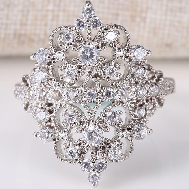 Crown Bridal 925 Silver Ring White Gemstone Women Men