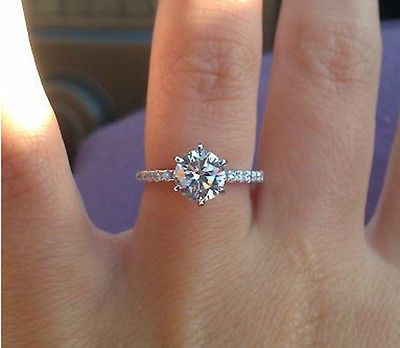 1 2 Carat D Vvs1 Diamond Solitaire 925 Sterling Silver Engagement Ring Size 7 Sterling Silver Engagement Rings Engagement Ring Sizes Engagement Rings