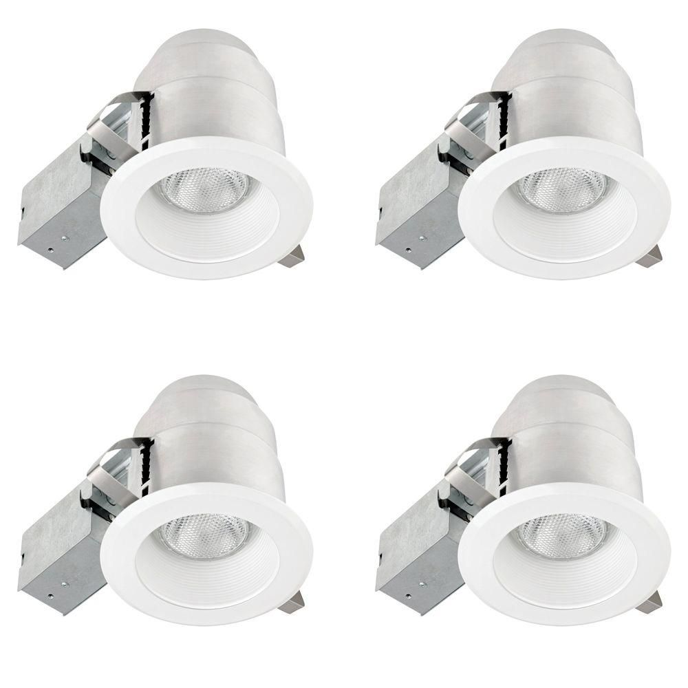 Globe Electric 5 in. White IC Rated Round Recessed Lighting Kit (4 ...