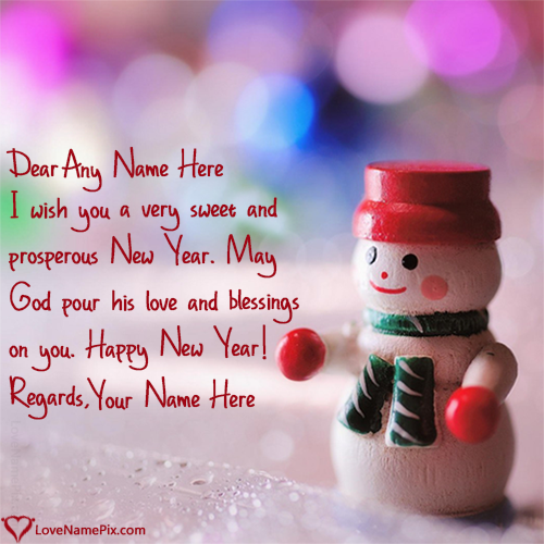 write any name and create Handmade New Year Greeting Cards