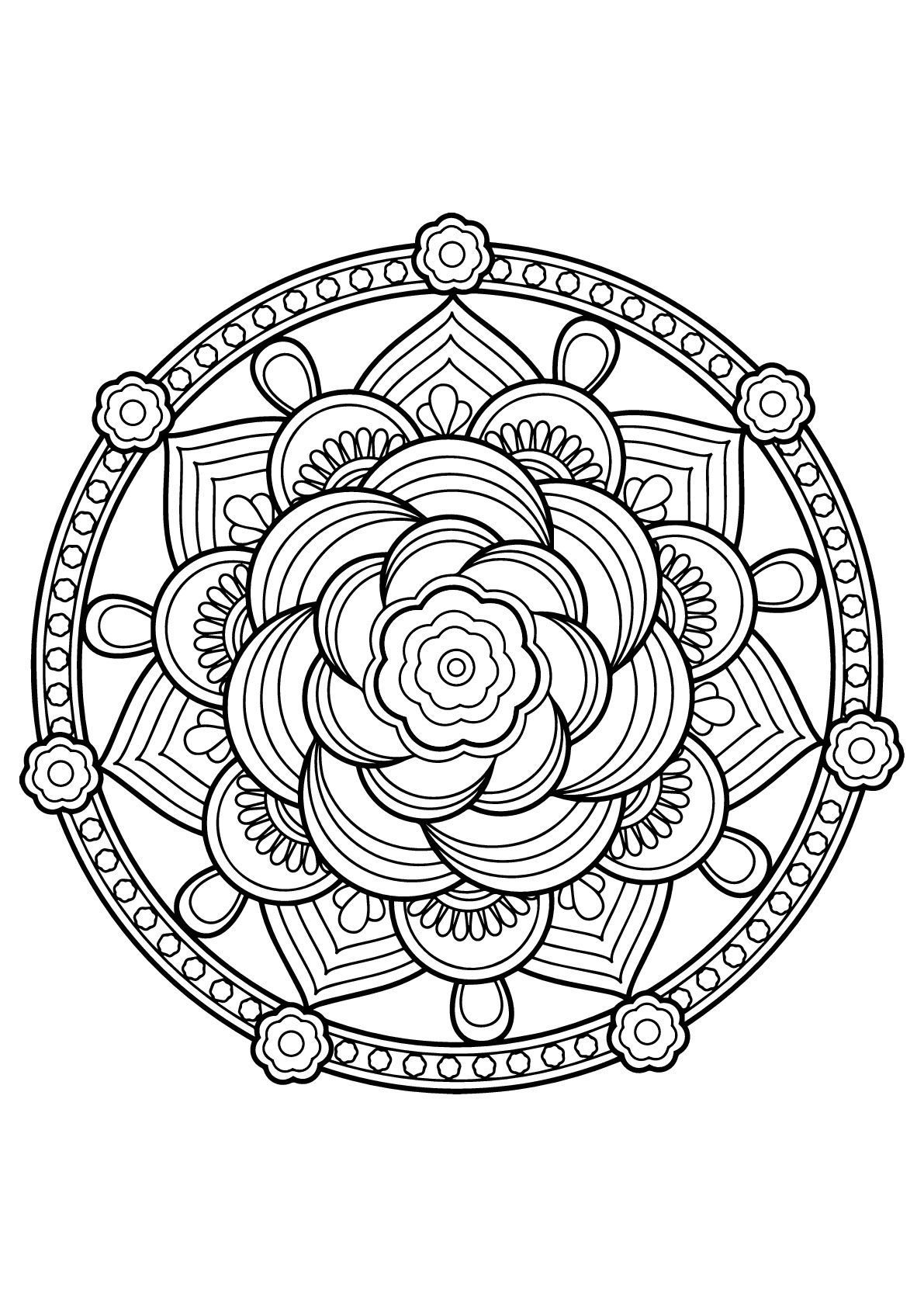 Mandala with floral patterns from Free Coloring book for adults ...