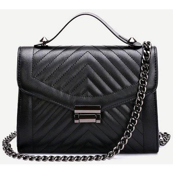 Black Quilted Envelope Bag With Chain ❤ liked on Polyvore ... : black quilted chain bag - Adamdwight.com