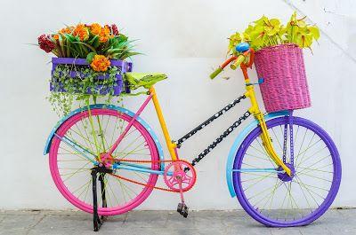 Bicicleta de colores con canastas de flores - Ideas para jardines y casas - Decoración exterior | BANCO DE IMAGENES