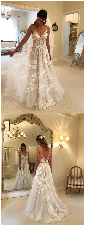 Sexy see through beach wedding dresses v neck bridal dress with slit
