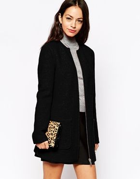 New Look Collarless Zip Through Coat | Styled | Pinterest | Winter ...