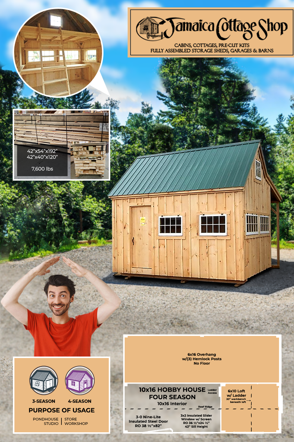 10 X 16 Hobby House Perfect For A Quick Escape For Your Passionate Hobbies In 2020 Hobby House Shed Basic Carpentry Tools