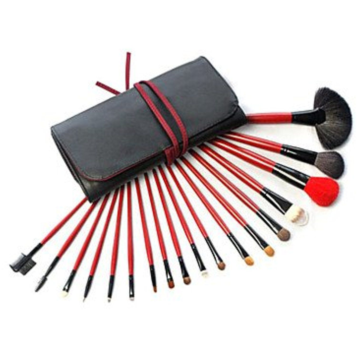 QINF 18pcs Animal Hair Makeup Brushes Set Black Makeup