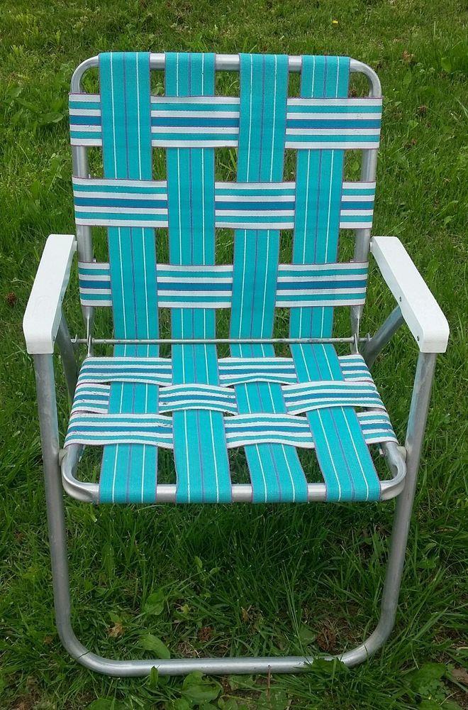 Sunbeam Vintage Lawn Chair Webbing Turquoise Teal White Sunbeam