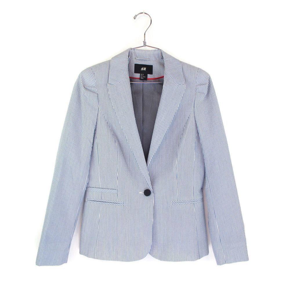 H M 8 Womens Blazer Blue White Striped Seersucker Jacket Single