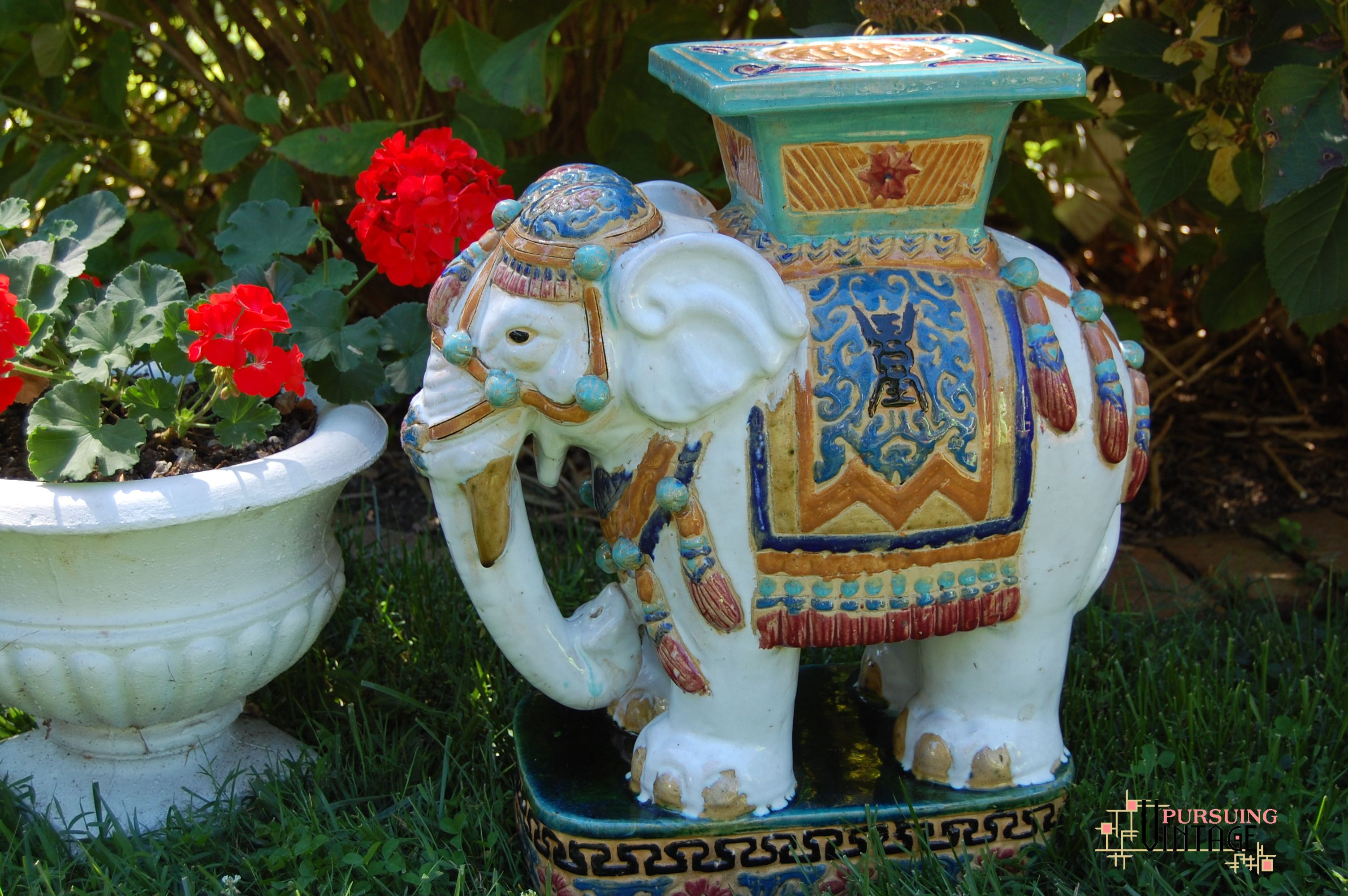 Ceramic Elephant Garden Stool Table