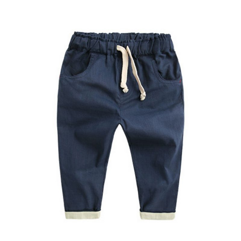 Oushiny Unisex Kids Solid Cotton Pants 2 Colors for 0-6