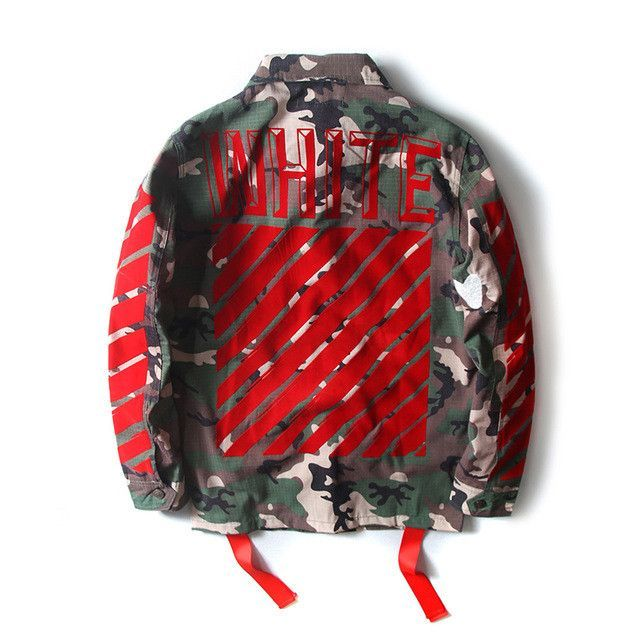 High Quality Mens Womens Justin Bieber Camouflage Off-White Jacket Kanye  West Fashion Military Camo Off White Jackets And Coats bcbd9d1c08
