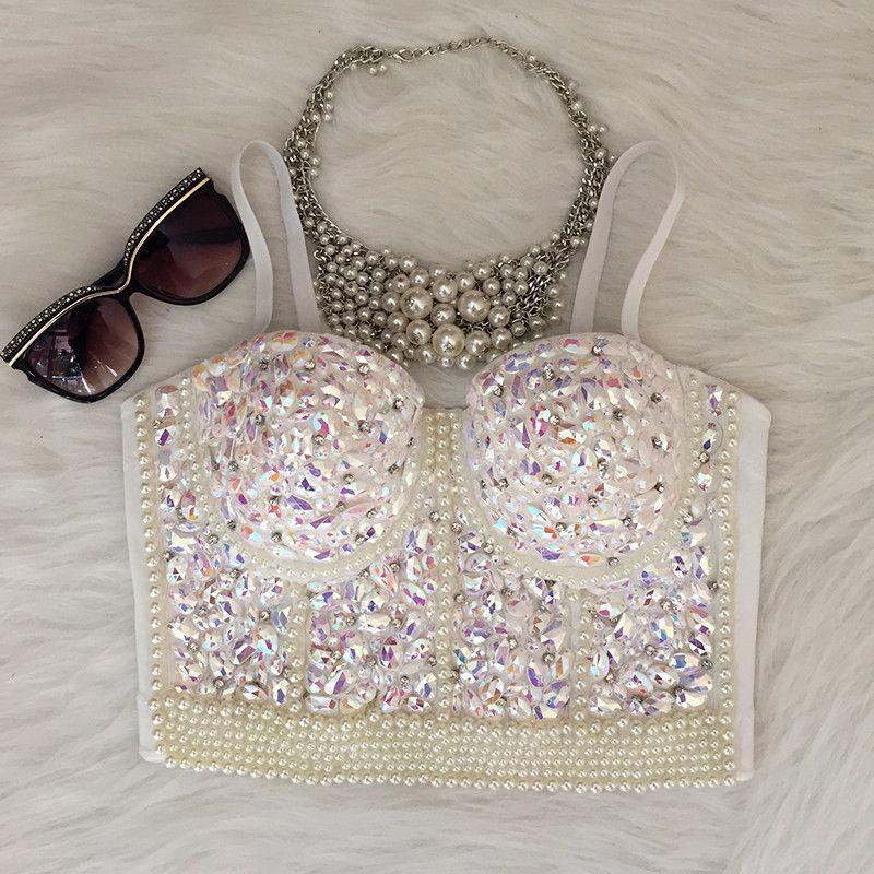 6c1efa7116a Gorgerous Rhinestone Bead Pearls Bustier Push Up Wedding Bralette Women s  Bra Cropped Top Vest Plus Size