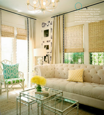So pretty. White Hollywood Regency influenced living room with ...