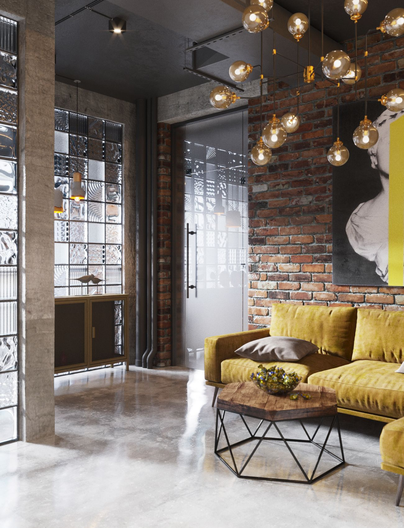 New Project For Office Spaces Loft Style On Behance Kirpichnyj