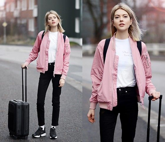 Get this look: http://lb.nu/look/8634085  More looks by Ebba Zingmark: http://lb.nu/ebbaz  Items in this look:  Junkyard Bomber, Horizn Studios Cabin Bag, Nike Sneakers, What Would Ernst Do? Top, Ebba Zingmark Blog   #casual #sporty #street