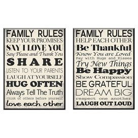 Perfect As A Delightful Focal Point Or In An Eye Catching Vignette This Framed Print Brings An Inspiring Family Rules Family Rules Wall Art Family Rules Sign