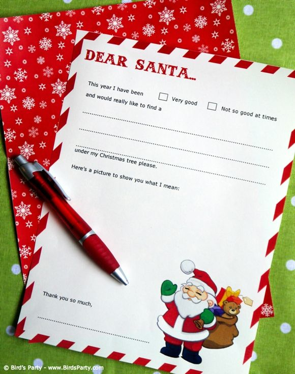 Free Dear Santa Party Printable Letter Template Dear santa - christmas card letter templates