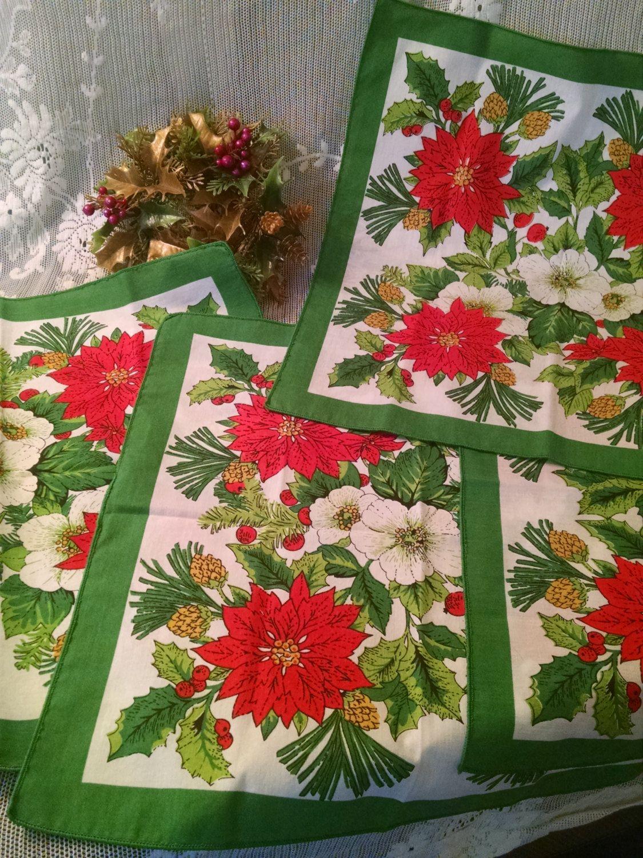 christmas cloth napkins vintage napkins christmas napkins poinsettia napkins cloth napkin - Christmas Napkins Cloth