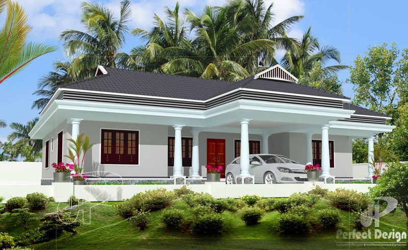 Simple And Beautiful Kerala Style 3 Bedroom House In 1153 Square Feet With Plan House Plans With Photos Kerala House Design Free House Plans