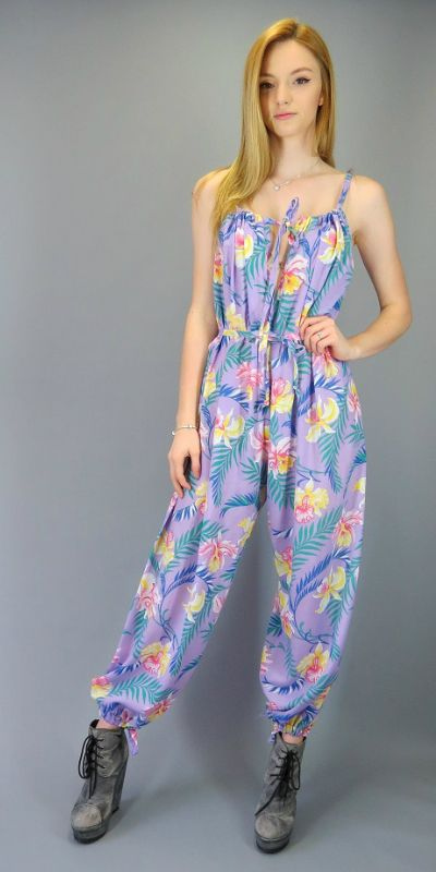 c34b2a425e8 Vintage 80s 90s Romper Jumpsuit Keyhole Purple Tropical Floral Print  Sleeveless Summer Festival One Piece Pants Outfit Playsuit Onesie Overall  Jumper by ...