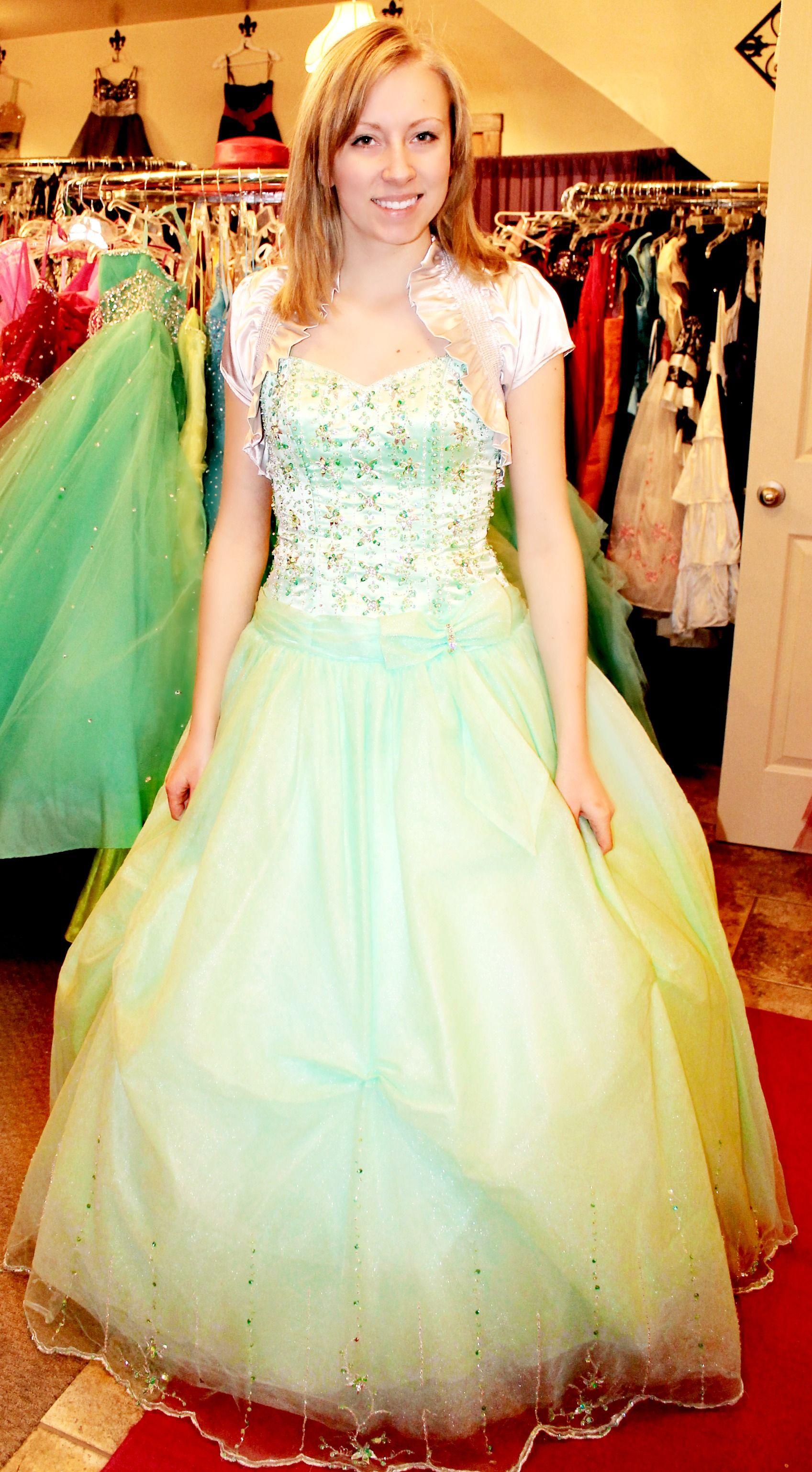 Mint green long ball gown formal prom dress made modest
