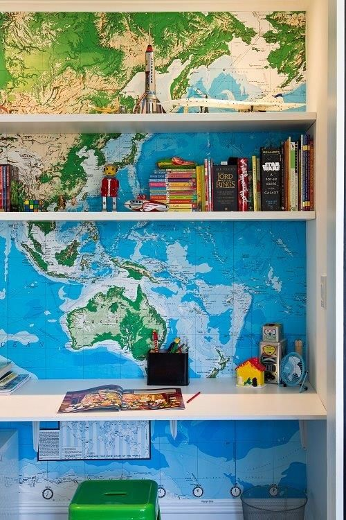 Map lined book shelves from the living with kids home tour map lined book shelves from the living with kids home tour featuring kate oppenhuis gumiabroncs Gallery