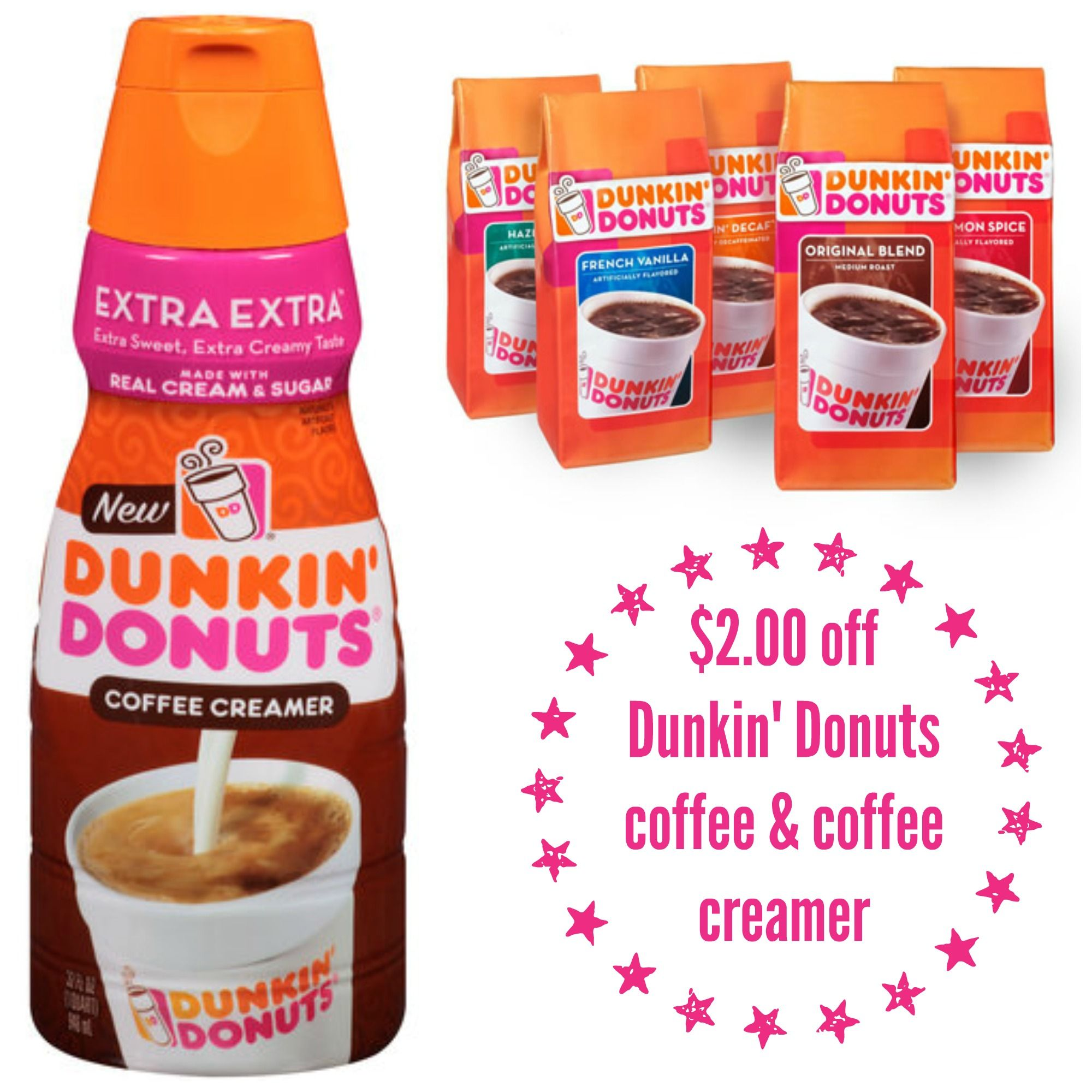 2.00 off Dunkin' Donuts coffee & coffee creamer Coupon