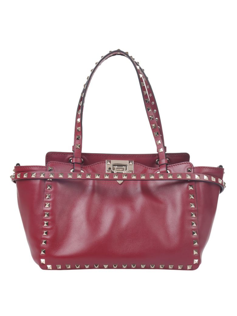 VALENTINO Valentino Garavani Rockstud Small Double Handlebag. #valentino #bags #shoulder bags #hand bags #lining #cotton #