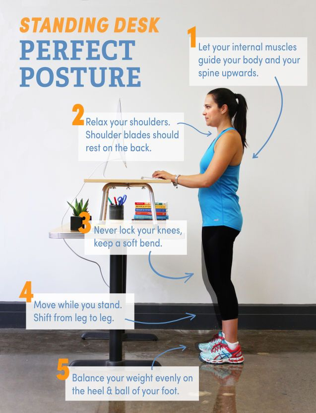 5 Tips For Perfect Posture At A Standing Desk Photo Perfect Posture Standing Desk Posture Workout For Beginners