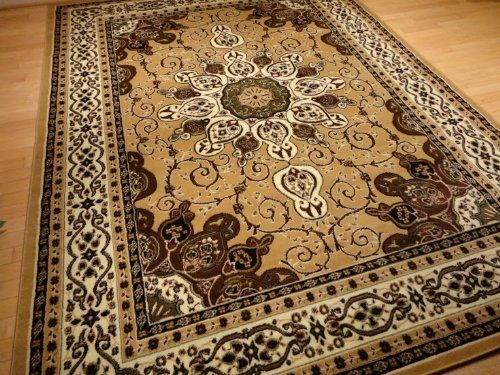 Beige And Gold Persian Style Rug 8x11 Oriental Rug Living