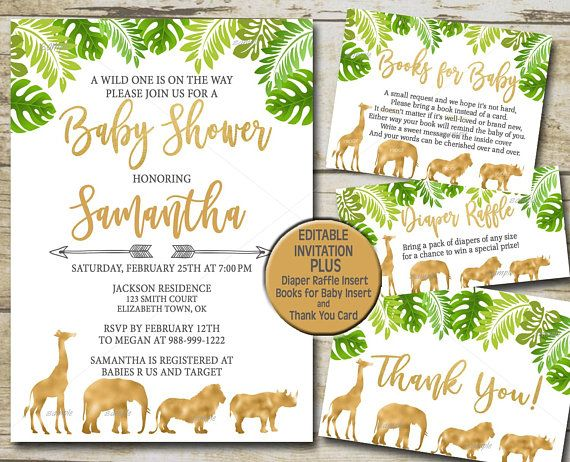 Gold Safari Baby Shower Invitation Kit Editable Invite Template Book For Diaper Raffle Thank You Greenery Jungle P33